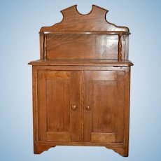 Old Doll Child's Miniature Oak Cupboard Cabinet