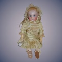 "Antique Doll  French Bisque SFBJ PARIS ""R"" Sweet Cabinet Size Dressed"