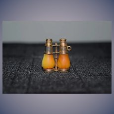 Old Miniature Doll Size Binoculars Shell and Brass