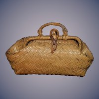 Old Sweet Doll Miniature Hand Woven Straw Purse Doll Size