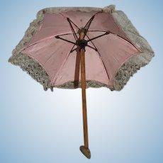 """Old Miniature Doll Parasol Umbrella 11"""" Tall Sweet"""