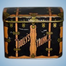 Sweet Old Doll Tin Trunk Miniature Dolly's Trunk