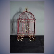 Sweet Vintage Doll Miniature Ornate Birdcage Bird Cage Dollhouse