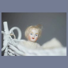 Antique Doll Miniature All Bisque in Wicker Rocking Cradle Dollhouse