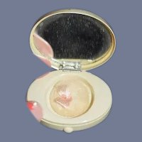 Old Miniature Doll Celluloid Compact W/ Powder Puff and Mirror Adorable