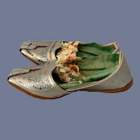 Old Doll Leather Silver Shoes Ornate Doll Child's