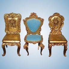 Vintage Miniature Doll Dollhouse Chairs Gold Ornate Side Chairs