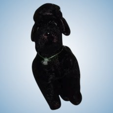 Vintage Doll Mohair Jointed Black Poodle Glass Eyes