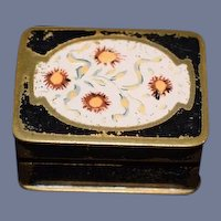 Old Miniature Doll Enamel Hinged Box W/ Miniature Lipstick