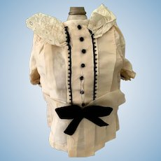Wonderful Old Hand Made Silk Drop Waist Doll Dress Fancy Lace Silk Bows