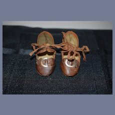Sweet  Old Doll Shoes W/ Buckles and Bows Incised 7