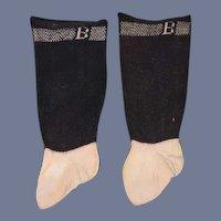 "Wonderful Old Doll Socks Marked ""B"" Fancy Marked ""B"""