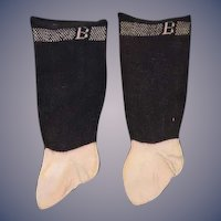 "Wonderful Old Doll Socks Marked ""B"" Fancy Marked ""B"""