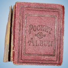 Antique Doll Miniature Picture Album W/ Tin Type Pictures: Pocket Album: