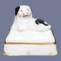 Old Miniature Dog Staffordshire Figurine Dollhouse
