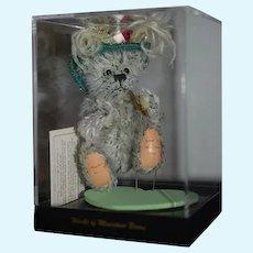 "Artist Teddy Bear Signed TINA R. 5"" Dressed in Case World of Miniature Bears  Fancy"