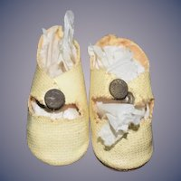 Old Doll Miniature Oil Cloth Doll Shoes Sweet