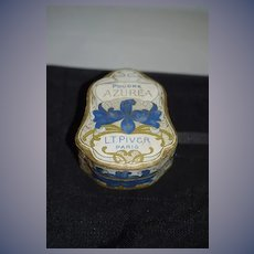 Art Nouveau French Powder Box Poudre AZUREA L.T. PIVER PARIS Beautiful Vanity