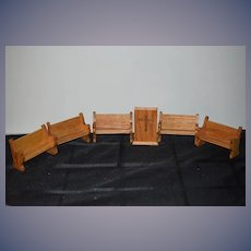 Vintage Doll Miniature Wood Religious Church Set Altar Pew Benches Dollhouse