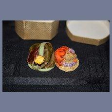 Old Miniature Doll Hat Box Standing W/ Two Miniature Hats Dollhouse Fancy Hats