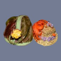 Old Miniature Doll Hat Box Standing W/ Two Miniature Hats Dollhouse Fancy Hats