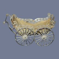 Old Doll Baby Carriage Ornate Metal Pram Miniature Dollhouse