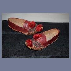Old Ornate Doll Child's Leather Shoes Pom Pom's