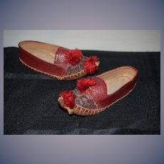 Old Ornate Doll Child's Leather Shoes Pom Pom's