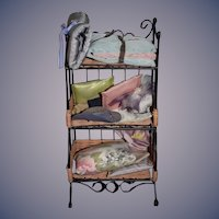 Sweet Miniature Doll Cabinet W/ Hats Linens Pillows Sweet