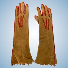 Old Doll Soft Leather Harris Fashion Doll Long Gloves