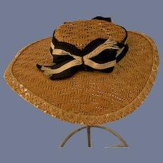 Old Doll Straw Hat Bonnet W/ Ribbon Fashion Doll Size