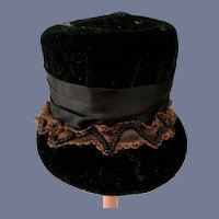 Vintage Doll Black Velvet Doll Hat Ornate