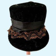 Vintage Doll Black Velvet Doll Hat Ornate