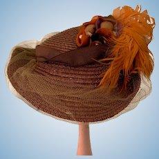 Fancy Doll Hat Artist Hat Julia Rogers Feathers Netting Bows Straw Bonnet