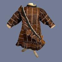 Wonderful Doll Dress Antique Fabric Hand Made Gorgeous W/ Matching Bonnet