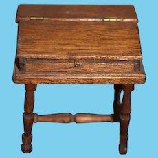 Old Doll Miniature Wood Desk Signed Artist Dollhouse