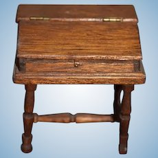 Old Doll Miniature Wood Desk Signed Artist Dollhouse
