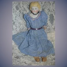 Antique Doll China Head Leather Body Old Stamp Sweet Size