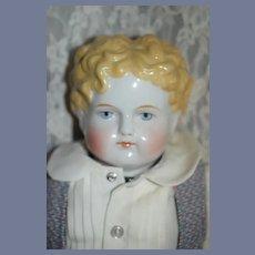 Antique Doll China Head Boy Dressed Center Part w/ Curls