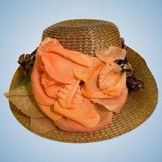 Vintage Doll Straw Hat Fancy Lifted Brim