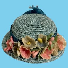 Vintage Doll Straw Doll Hat Bonnet with Fancy Brim