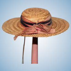 Sweet Old Straw Doll Hat Bonnet Wide Brim