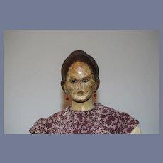 Antique Doll Wood Carved High Bun Glass Eyes Unusual