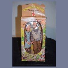 Vintage Doll Sunshine Family Grandparents Mattel In Original Box
