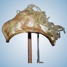 Sweet Doll Hat Bonnet Fancy Flowers Feathers Artist Made Janice Custom Milliner