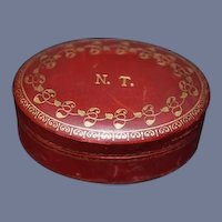 Old Leather Box w/ Old label  Gamiana Rome Decorated Leather Industry Fancy Vanity Box