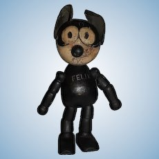 OLD Black Wood Felix The Cat Jointed Doll