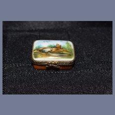 Old Miniature Limoges Enamel Trinket Box Vanity Box Signed Peint Bridge Gorgeous Dollhouse