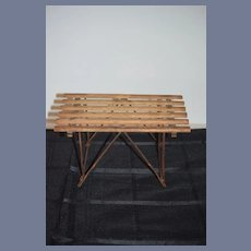 Old Wood Doll Table Miniature Larger Wood Metal Folding Charming