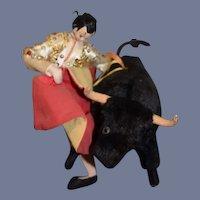 Vintage Cloth Doll W/ Bull Bull Fighter Subalternos Roldan Charming